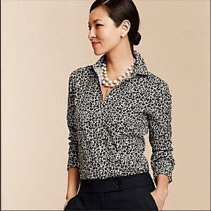 Talbots Leopard Print Button Up Stretch Shirt 1X